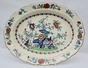 Vintage Booths Silicon China Oval Meat Plate - Pompadour Pattern - 8083 + 3 dots