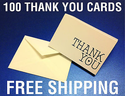 100 THANK YOU CARDS -  wedding party gifts boys girls baby shower envelopes
