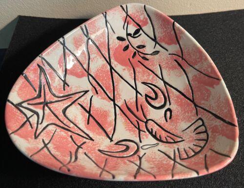 Vintage 50s 60s Decorative Ceramic Bowl Mid Century Modern Pottery Pink Black