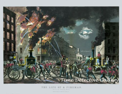 """The Life of a Fireman """"The New Era of Steam and Muscle"""" 1854 Historic Art Print"""