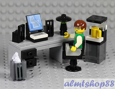 LEGO - Office Worker Minifigure w/ Desk Water Cooler Coffe Maker Waste Basket