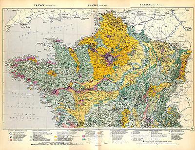 Big Size Map Card Atlas 1950: France North / Switzerland Belgium