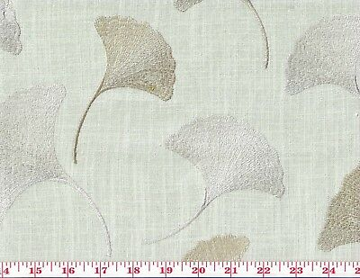 Aqua Asian Inspired Embroidered Drapery Fabric by Braemore Maidenhair CL Mist