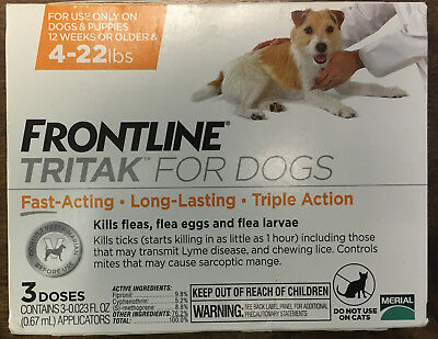 Frontline TRITAK Flea & Tick for dogs 4-22 lbs Yellow 3-dose NEW IN BOX