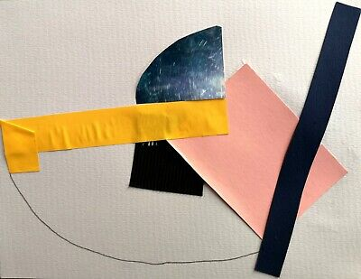 ST IVES ABSTRACT COLLAGE 31 BY NIGEL WATERS ORIGINAL PAPER & PENCIL COLLAGE *