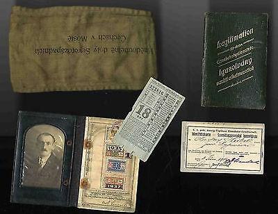 Eisenbahn Aussig Teplitz 1915 Armbinde  Pass 1937 -1938