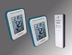 Blue Trim Dual Display Wireless Indoor/Outdoor Thermometer Min/Max & Trend NEW