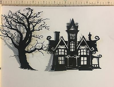 """Cricut Halloween Die Cut October 31st """"haunted House""""  5 In Tall & Spooky Tree 6"""
