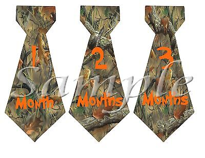 13 Realtree/camo monthly Ties Stickers Baby shower milestone {K181}
