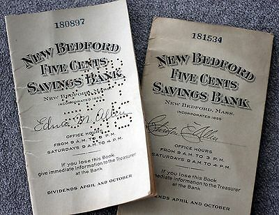 NEW BEDFORD FIVE CENTS SAVINGS BANK Dividend Books MASSACHUSETTS 1920s BANKING