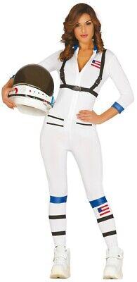 Womens White Astronaut Space Suit Jumpsuit Uniform Moon Walk Costume