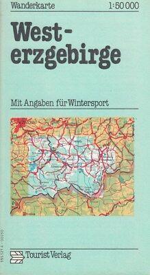 Wanderkarte WEST ERZGEBIRGE  1:50 000 1977 DDR Tourist Verlag