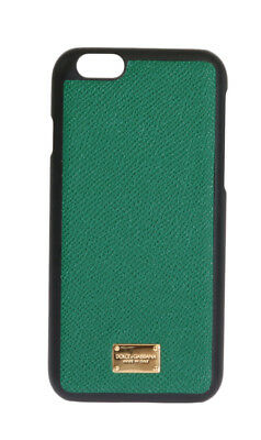 NEW $150 DOLCE & GABBANA Phone Case Skin Green Leather Gold Logo iPhone6