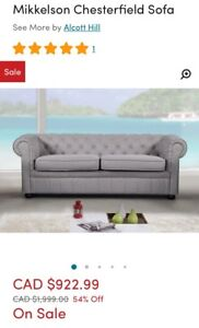 New chesterfield sofa/couch
