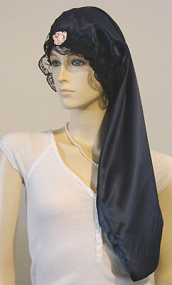 Hair Bonnet Navy Dark Blue Satin Night Sleep Cap - Adult Size for Long Hair