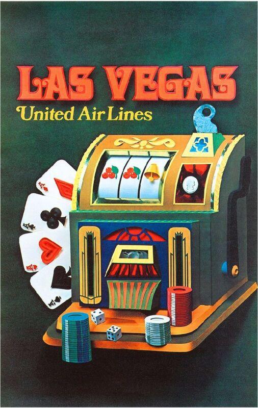 Las Vegas Nevada Slot Machine United States America Travel Advertisement Poster