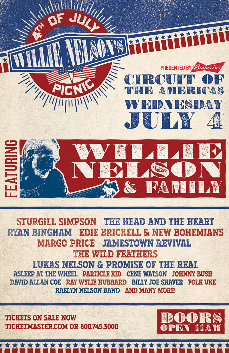 WILLIE NELSON / STURGILL SIMPSON 4TH OF JULY PICNIC 2018 AUSTIN CONCERT POSTER - $11.99