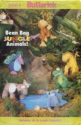 Bean Bag Jungle Animals - Butterick Bean Bag Jungle Animals Pattern 5663 Size 6