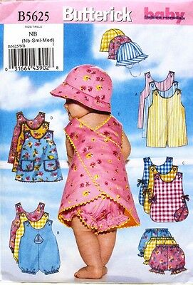 ROMPER-JUMPER-PANTIES-HAT Butterick Pattern 5625 Infant/Baby Girl/Boy Nb-S-M