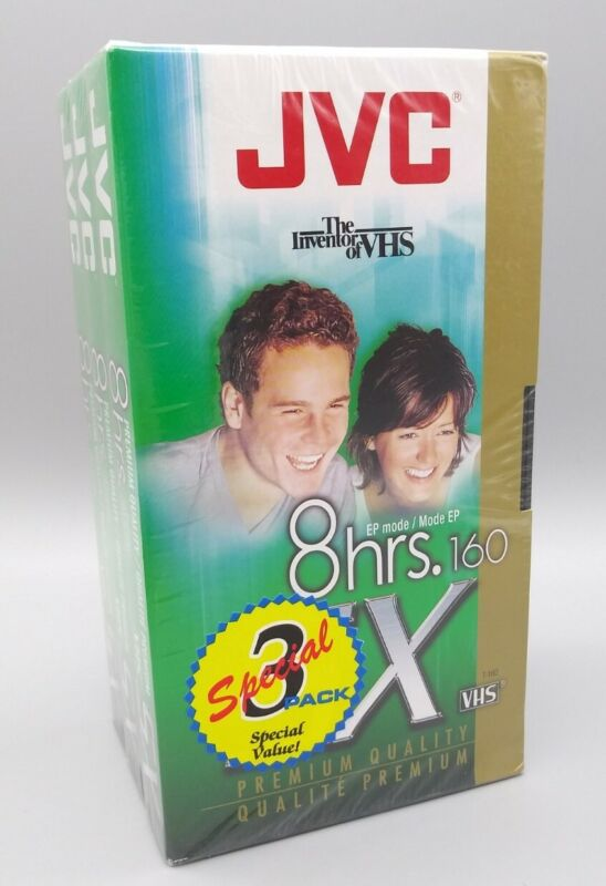 JVC SX T-160DU 8 HOUR EP VHS 3 PACK BRAND NEW FACTORY SEALED PREMIUM QUALITY !!!
