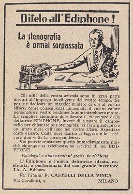Z3998 Dettatrice EDIPHONE - Pubblicità d'epoca - 1933 vintage advertising