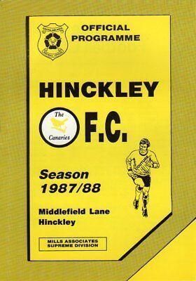 HINCKLEY FC  V  LINCOLN UTD 18/9/1987 PROGRAMME