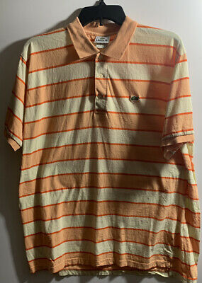LACOSTE MEN'S STRIPED SHORT SLEEVE POLO SHIRT SIZE 8 (XL)