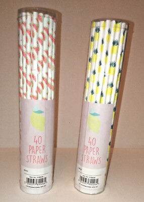 40 TROPICAL PAPER DRINKING STRAWS White WATERMELON or PINEAPPLE Party BBQ - Tropical Paper Garden