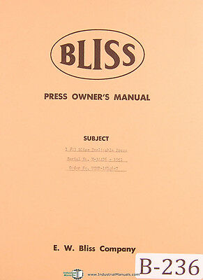 Bliss 23 Inclinable Press Owners Operations And Parts Manual Year 1951