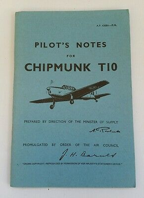 Vintage Air Ministry Pilot's Flying Notes for Chipmunk T10 Aircraft Plane