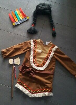 Kostüm Indianer Perücke Pocahontas Mädchen Western Karneval Fasching Fastnacht