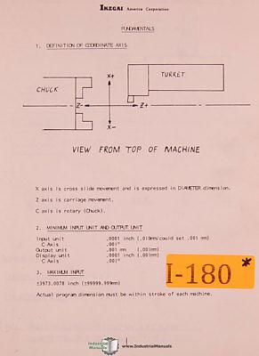 Ikegai Programming Fundamentals Turret Lathe Manual