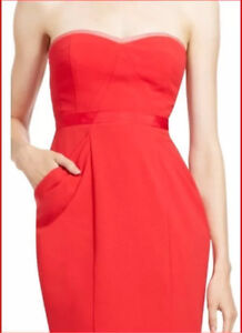 BCBG Maxazria Daphine Bustier Red Strapless Dress- brand new