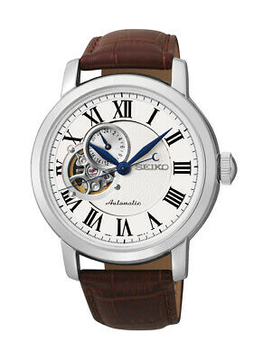 Seiko Automatic White Dial Brown Leather Men's Watch SSA231
