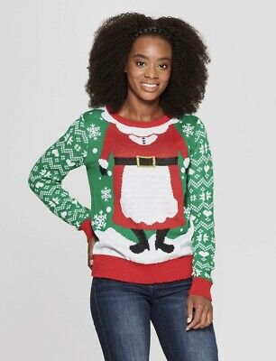 NEW Ugly Christmas Sweater Women Mrs. Claus Holiday Green/Red/White Funny Cute - Woman Ugly Christmas Sweater