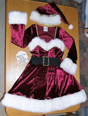 Sexy Weihnachts-Frau Kostüm Gr. 36/38 Samt weinrot weiß Nikolaus-Frau Weihnacht