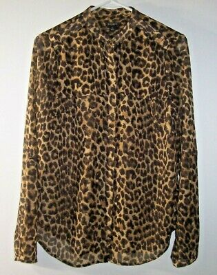 Ann Taylor Leopard Blouse/Top Womens Size 6 Semi Sheer Animal Print Tab Sleeves