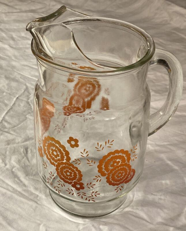 Flower Juice Glass PITCHER Wide Lip  VINTAGE ORANGE BLOSSOM MCM Hip unique 70s
