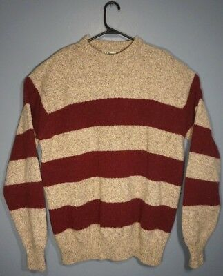 LL Bean Vintage Sweater Wool Nylon Blend Made In USA Maroon Beige Mens XL Long -