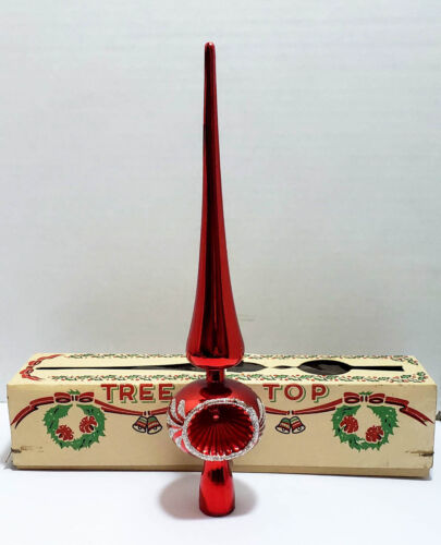 Vintage Plastic Christmas Red Tree Topper With Indent Made In Italy