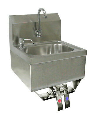 Ace Stainless Steel Hand Sink 16 X 15 Knee Operated With Faucet Etl Hs-1615k