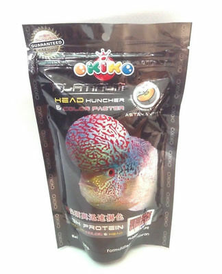 (OKIKO-Platinum-Flowerhorn-Cichlids-Fish-Food-Head-Up-Quick-Color-Pellet--L100G)