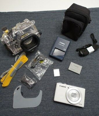Canon PowerShot S110 12.1MP Digital Camera w/ Canon Underwater Housing Good Cond