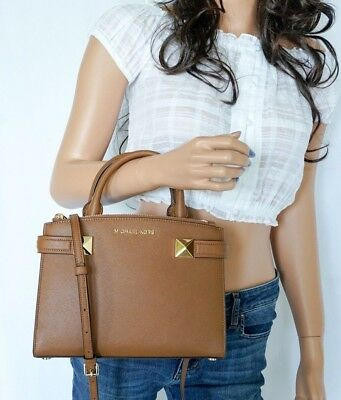 MICHAEL KORS KARLA EAST WEST SMALL SATCHEL LEATHER SHOULDER BAG BROWN(LUGGAGE) East West Satchel Bag