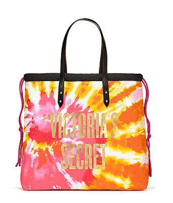 Tie Dye Bags (VICTORIA'S SECRET TIE-DYE BEACH ORANGE PINK SIGNATURE LOGO GYM TOTE BAG)