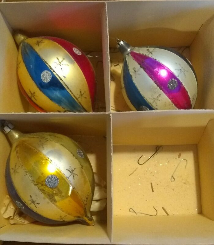 3 ~ Antique Striped w/Glitter Christmas Tree Ornaments