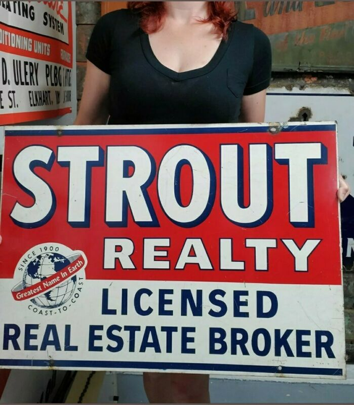 Vintage Large Metal Strout Realty Sign Red White & Blue Double Sided Advertising