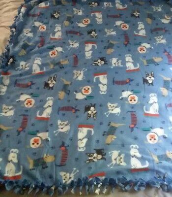 Fleece Handmade Soft Tie Blanket OVERSIZED BABY Throw Approx 50X60 animal dogs