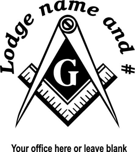 WHITE Vinyl Decal Masonic Emblem Lodge name and number Mason