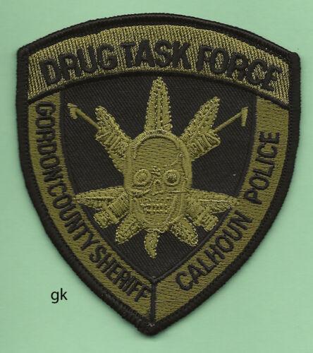 GEORGIA GORDON COUNTY SHERIFF  CALHOUN POLICE  DRUG TASK FORCE PATCH SUBDUED